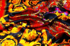 Bakgrundstextur som drar Silk tyg Tyg med ljust klappar Arkivbilder