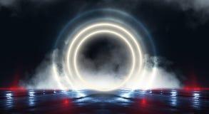 Bakgrundsvägg med neonlinjer och strålar Mörk korridor för bakgrund med neonljus Abstrakt bakgrund med linjer och glöd lampa arkivfoton