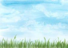 Bakgrundsvattenfärgillustration, blå himmel med den gröna ängen vektor illustrationer