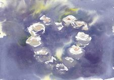 Bakgrundsvattenfärgviolet med heartshaperosor Royaltyfria Foton