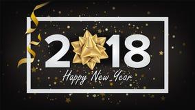 Bakgrundsvektor 2018 för lyckligt nytt år Realistisk pilbåge kortjul som greeting Modern affisch för nytt år, broschyr, reklambla Fotografering för Bildbyråer