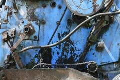 Bakgrundsyttersida av blåttfärg och den gamla bygdtekniken för jordbruk arkivfoto