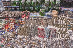 Bakhchisarai, Russia Handmade souvenirs of the Crimea in oriental style for tourists. Beautiful jewelry, magnets, jams