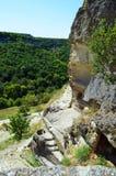 Bakhchisaray, Krim Chufut-Kohl - eine mittelalterliche verstärkte Stadt in der Krim, gelegen auf dem Gebiet des B Stockfotos