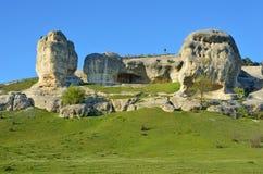 Bakhchisaray Szczególnie ochraniający naturalnego terytorium ` Naturalni sfinksy dolina Su w wiośnie obrazy stock
