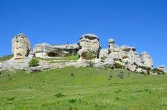 Bakhchisaray Szczególnie ochraniający naturalnego terytorium ` Naturalni sfinksy dolina Su w wiośnie obraz stock