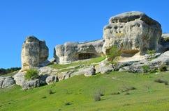 Bakhchisaray Szczególnie ochraniający naturalnego terytorium ` Naturalni sfinksy dolina Su w wiośnie zdjęcia royalty free