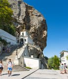 BAKHCHYSARAY, CRIMEA, RUSSIA - SEPTEMBER 13.2016: The current bell tower of the Holy Dormition cave monastery in the natural bound Royalty Free Stock Image