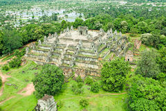 Bakheng登上奇迹吴哥窟暹粒市柬埔寨王国  免版税库存图片