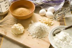 Baking. Utensils and ingredients for  a pie Stock Image