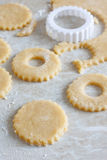Baking. Cutout cookies preperations, unbaked pastry Royalty Free Stock Image