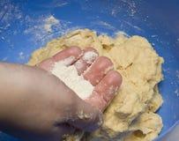 Baking. A cake, flour and dough Stock Photos