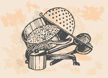 Baking accessories, retro set Stock Photography