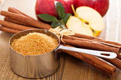 Baking with apple, sugar and cinnamon Royalty Free Stock Photos
