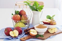 Baking with apple, sugar and cinnamon Stock Photo
