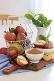 Baking with apple, sugar and cinnamon Stock Photos