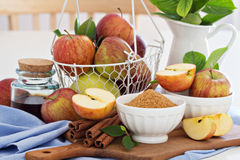 Baking with apple, sugar and cinnamon Royalty Free Stock Photo