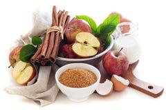 Baking with apple, sugar and cinnamon Stock Image