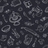 Baking background. Baking doodle background. Vector seamless pattern with kitchen tools. Hand drawn baking utensils Stock Photo