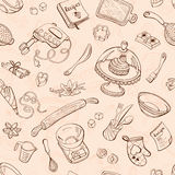 Baking background. Baking doodle background. Vector seamless pattern with kitchen tools. Hand drawn baking utensils Royalty Free Stock Image