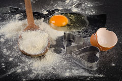 Baking background with egg and flour. Stock Photography