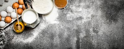 Baking background. Fresh ingredients for baking. stock images