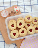 Baking background  heart cookies on wooden board Stock Photography