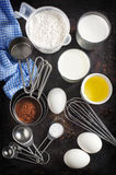 Baking background with ingredients for chocolate cake Royalty Free Stock Photos