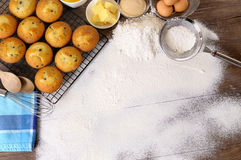 Baking cake background with ingredients copy space Royalty Free Stock Images
