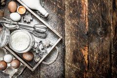 Baking background. Ingredients for fresh dough. stock photos