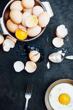 Baking background with raw eggs, Farm fresh chicken eggs in a ba Royalty Free Stock Image