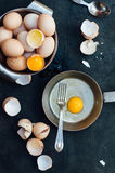 Baking background with raw eggs, Farm fresh chicken eggs in a ba Royalty Free Stock Photos