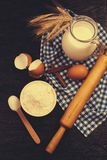 Baking background with rolling pin Stock Image