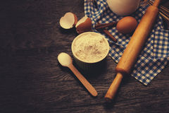 Baking background with rolling pin Stock Photo