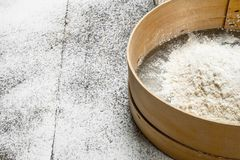 Baking background. Sieve with flour. stock photography