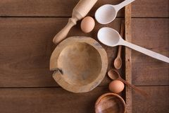 Baking background with wooden utensils Stock Image