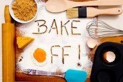 Baking - Bake Off. Written in flour stock photos