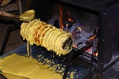 Baking Baumkuchen Royalty Free Stock Image