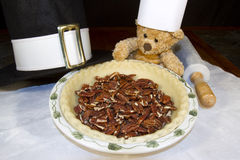 Baking Bear with Pecan Pie Stock Photos
