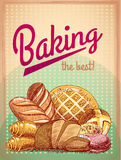 Baking the best pastry poster. Baking the best pastry food poster template with bread and cake assortment vector illustration Royalty Free Stock Photography
