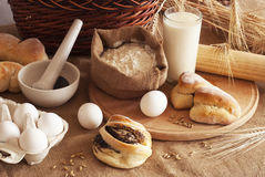 Baking of bread. Ingredients for the baking of bread royalty free stock images