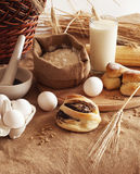 Baking of bread. Ingredients for the baking of bread Stock Photos