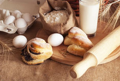 Baking of bread Stock Images