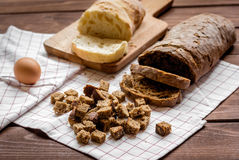 Baking bread ingredients on wooden table background Royalty Free Stock Images