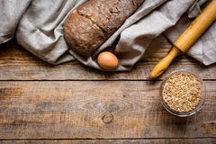 Baking bread ingredients on wooden table background top view mockup Stock Photos