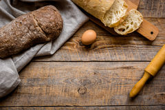 Baking bread ingredients on wooden table background top view mockup Royalty Free Stock Images