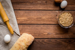 Baking bread ingredients on wooden table background top view mockup Royalty Free Stock Image