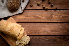 Baking bread ingredients on wooden table background top view mockup Stock Photography