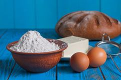 Baking bread in rural kitchen - dough recipe Stock Photography