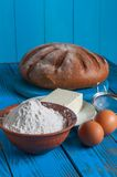 Baking bread in rural kitchen - dough recipe Royalty Free Stock Photography